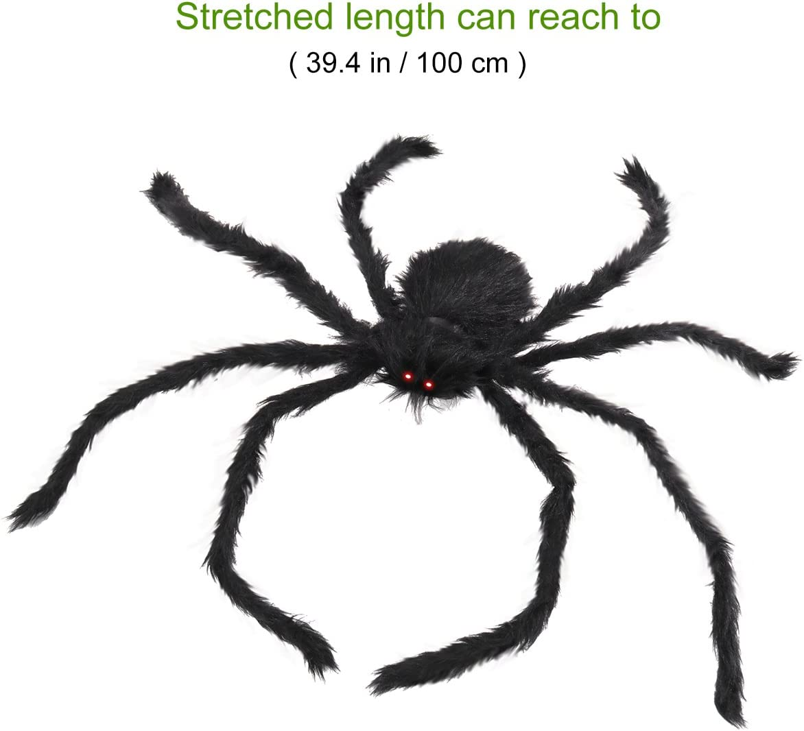Halloween Decorations Outdoor Giant Spider with LED Eyes Plush Toy Hairy Spider for Halloween Party 100CM