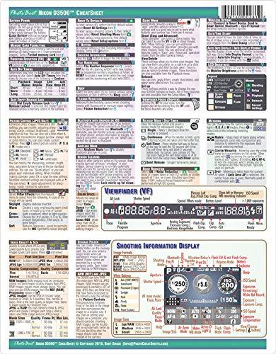 Nikon D3500 Digital SLR Camera CHEATSHEET (short version, laminated, instruction manual)