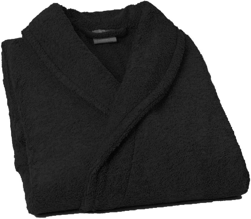 Home Basic - Albornoz con Cuello Tipo Smoking, Talla L, Color Negro