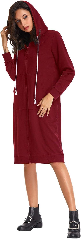 GRACE KARIN Womens Casual Pockets Zip up Hoodies Tunic Sweatshirt Long Hoodie Jacket