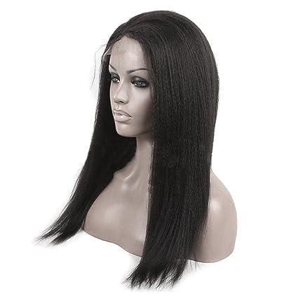 Frcolor Pelucas rectas negras pelucas de fibra a prueba de calor pelucas sedosas naturales de la