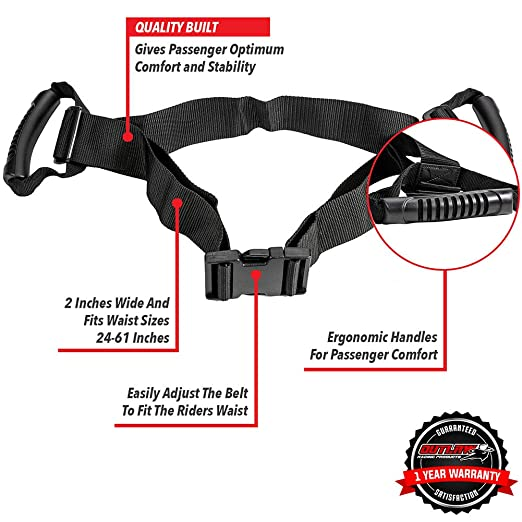 Amazon.com: Outlaw Racing Passenger Safety Belt Handles for Motorcycle, Motocross, ATV, Scooter, Snowmobile, Jetski – Durable Reliable & Comfortable – Safer ...