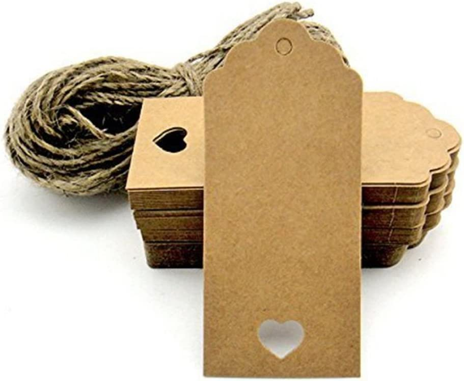YYXLL 1000 Kleine Papieranh/änger Natur Kraftpapier-Etikett Geschenk-Anh/änger Namensschild Tischkarte 9 X 5 cm H/änge-Etikett Geschenkanh/änger