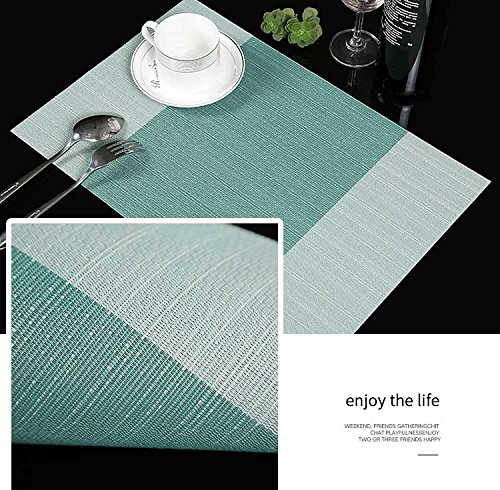Large Product Image of Placemats,Famibay Heat Insulation PVC Placemat Stain-resistant Crossweave Woven Table Mats for Kitchen Set of 4 (4, Vertical Striped Turquoise)