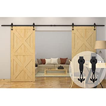 WINSOON 8FT/96 Inch Industrial Barn Door Hardware Kit Inside Sliding Iron  Track For Double