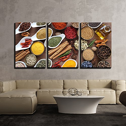 wall26 - 3 Piece Canvas Wall Art - Flavorful, Colorful Spices in Ceramic and Metal Bowls on Wooden Background. - Modern Home Decor Stretched and Framed Ready to Hang - 24