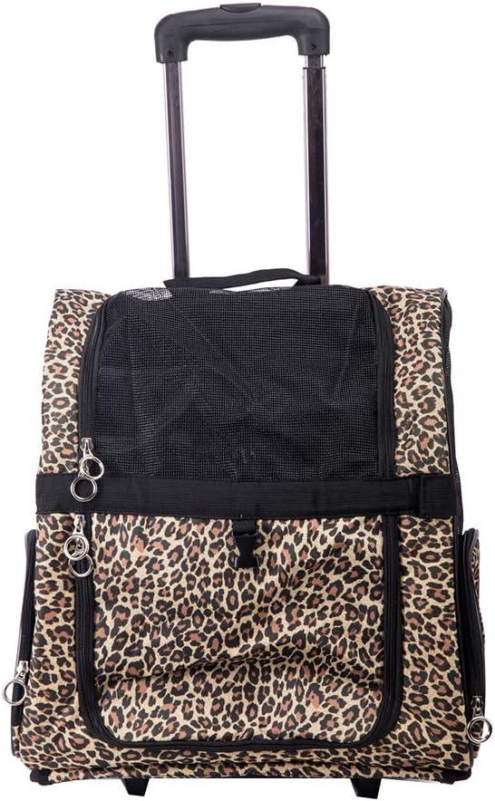 Bolsa de viaje para mascotas, mochila con ruedas, soporte para mochila para mascotas, maleta de nailon transpirable, plegable, apta para gatos y perros medianos y pequeños (camuflaje)