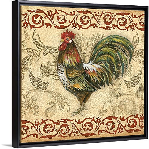 Gregory Gorham Floating Frame Premium Canvas with Black Frame Wall Art Print Entitled Toile Rooster IV 12