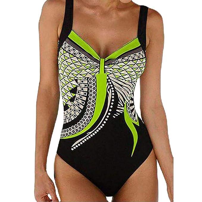 Fossen Bikinis Mujer 2019 Push up con Relleno - Brasileños Bañador de Estampado Vintage - Traje de Bañorayas - Ropa de baño de una Pieza: Amazon.es: Ropa y ...