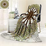 AmaPark Digital Printing Blanket Design with Leaves and Woods Round Shape Cultural Green Brown Summer Quilt Comforter