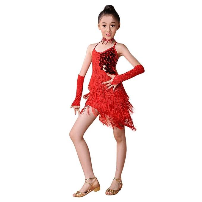 Ropa de Baile para Niñas Latino Vestido con Flecos de Fiesta Dancewear de Cosplay Princesa,Lentejuelas Flecos Falda de práctica de Baile Latino + ...