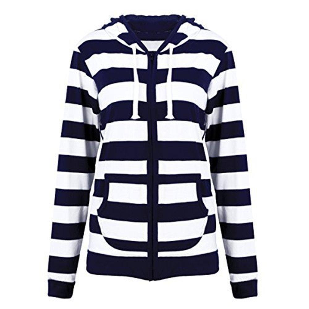 Women Plus Size Casual Lightweight Sweatshirts Long Sleeve Zipper Striped Hoodies