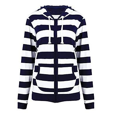 7ee340088b14d LIWEIKE Women Plus Size Casual Lightweight Sweatshirts Long Sleeve Zipper  Striped Hoodies at Amazon Women s Clothing store