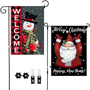 2Pack Snowman Welcome Santa Merry Christmas Happy New Year Decoration Vertical Double-Sided Outdoor Garden Flags,Winter Snow Vintage Burlap Flag Decor with Clips Stoppers for Home Front Door Yard Lawn
