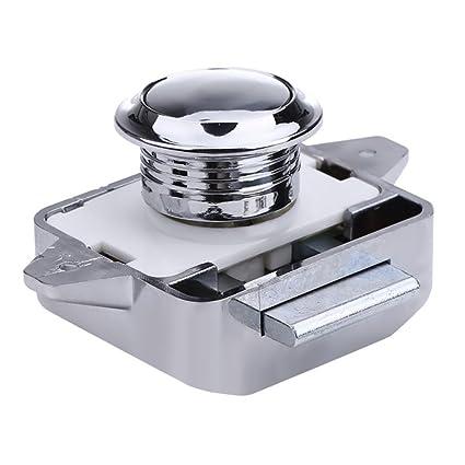 Awakingdemi Push Button Cabinet Latch ,Large Push Lock Button Catch Lock  for Cupboard Door Knob Camper Caravan Motor (Silver Chrome)