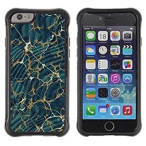 LASTONE PHONE CASE / Suave Silicona Caso Carcasa de Caucho Funda para Apple Iphone 6 PLUS 5.5 / Texture Pattern Gold Abstract Blue