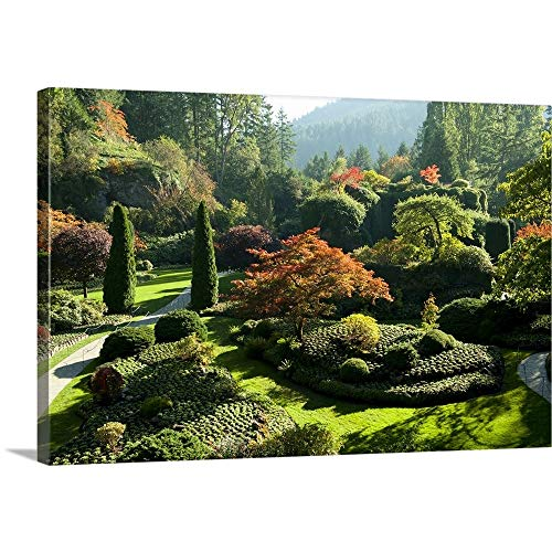 GREATBIGCANVAS Gallery-Wrapped Canvas Entitled Trees in Butchart Gardens, Victoria, Vancouver Island, British Columbia, Canada by 36