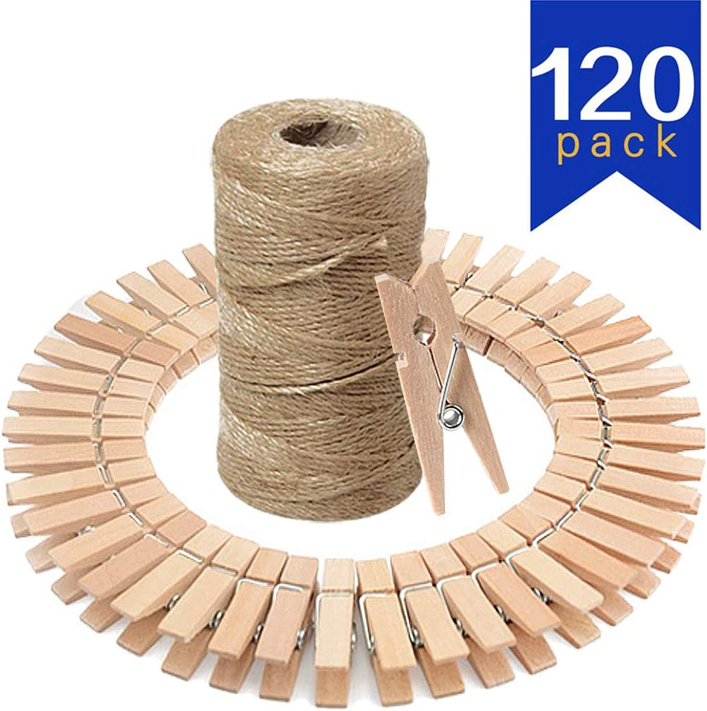 Umikk Mini Wood Clips,328 Feet Natural Jute Twine with 120 Pcs Mini Natural Wooden Clips for Pictures,Photo,Paper,Craft,3.5x1cm Small Wood Clip