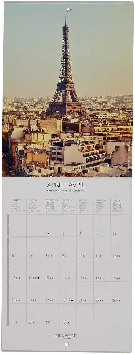 Draeger - Calendario de pared pequeño París 2020 - Cuadrícula mensual - 7 idiomas - Mezcla certificada FSC - Tinta vegetal - Calendario de pared París 2020 - Formato pequeño 14x18cm: Amazon.es: Oficina y papelería