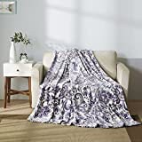 American King Size Bed All American Collection New Super Soft Printed Throw Blanket (King Size, White/ Lavander)
