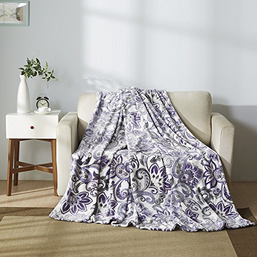 All American Collection New Super Soft Printed Throw Blanket (King Size, White/ Lavander)