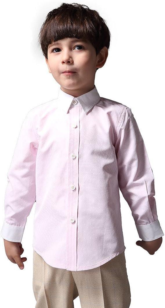 ELF EYAS Camisa de Vestir de Manga Larga para niños - Rosa - 110 cm: Amazon.es: Ropa y accesorios