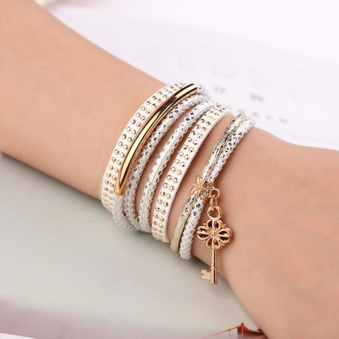 DENER Unsex Multilayer Clasp Lock Wrist Chains Braided Leather Cuff Bangle Wristband Rope Alloy Stretch Bracelet