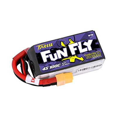 Tattu FunFly 4S 1550mAh 100C 14.8V LiPo Battery Pack with XT60 Plug for RC Boat Heli Airplane UAV Drone FPV Skylark Emax Nighthawk 250 Practice: Home Audio & Theater