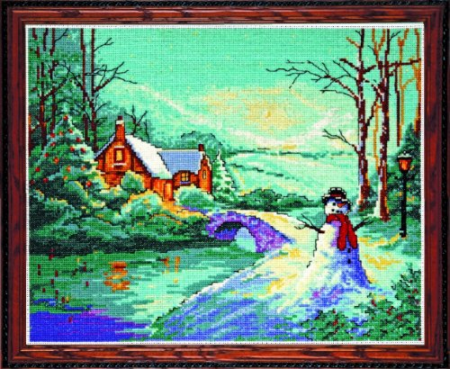 Tobin Winter Cottage Counted Cross Stitch Kit, 8 by 10-Inch, 18 Count