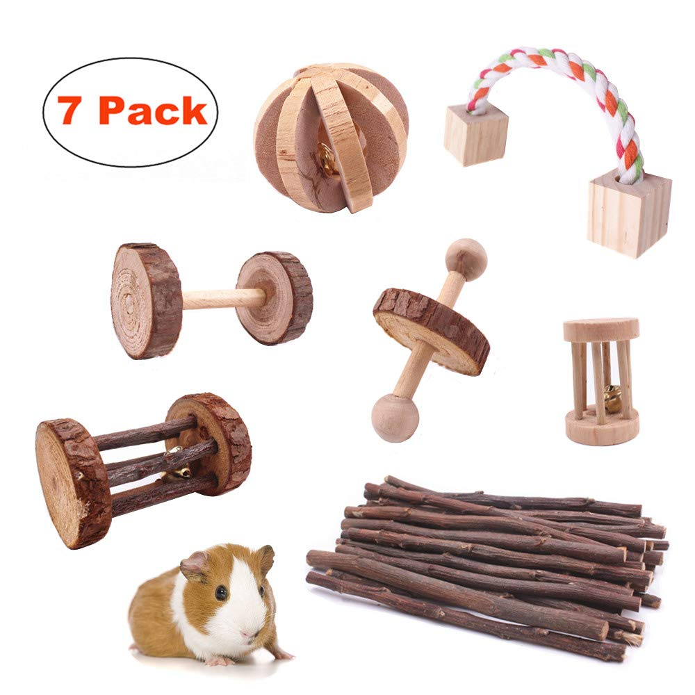 JanYoo Upgrade Rat Chinchilla Toys Guinea Pig Accessories Bunny Chew Toys for Bird Rabbits Hamster Gerbil Pack of 7 by JanYoo