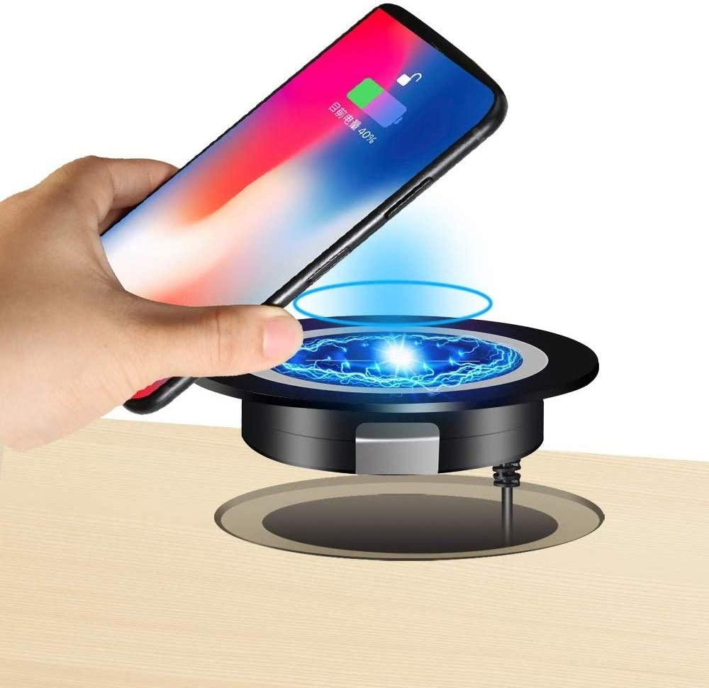 JE Make IT Simple Desk Wireless Charger, Desktop Grommet Power Wireless Charging Pad Compatible with iPhone11 Pro Max/XR/ 8 Plus, Galaxy Serie and All Enabled Phones