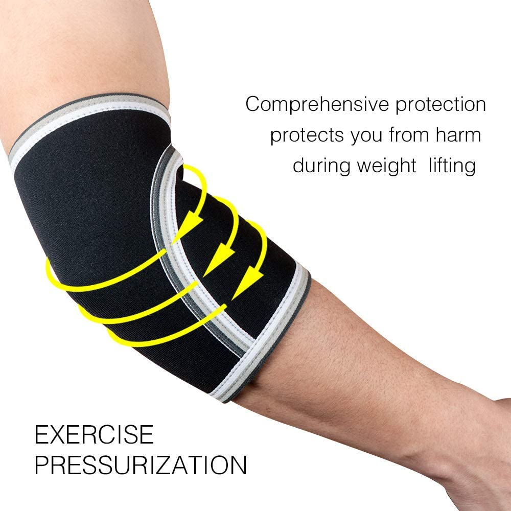 WE-WIN Fitness 7mm Strong Elbow Sleeves Pair -Powerlifting Strongman,Crossfit,Weight Lifting,Bodybuilding Single Seam Reinforced Stitching,Neoprene