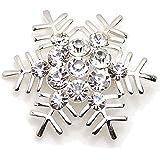 Amazing Shiny Silver & Crystal White Snowflake Brooch Pin Christmas Gift BR111