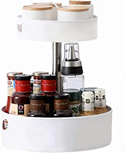 WUWEOT 2-Tier Lazy Susan Turntable, Spinning Organizer for Spices, Condiments, 360° Rotating Plastic Food Storage Container for Pantry, Kitchen, Countertop