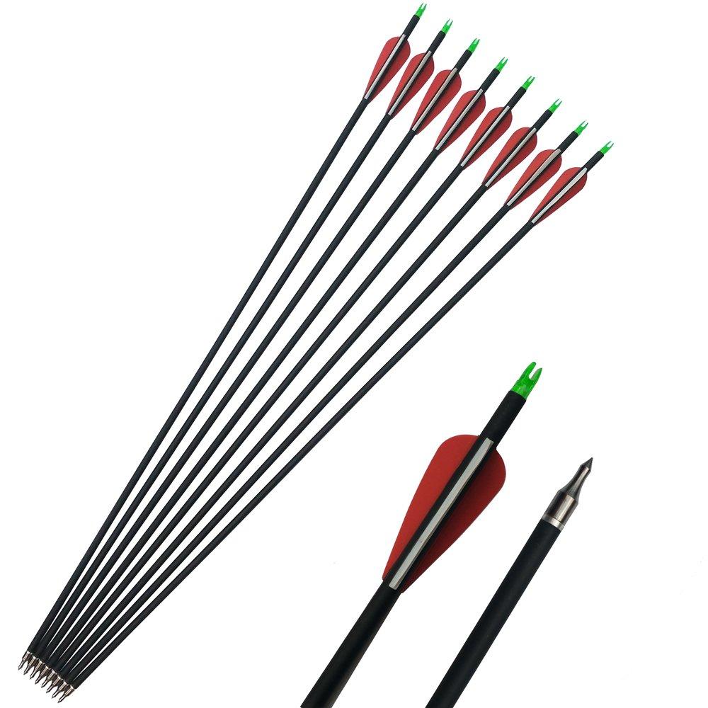 12 Stück Carbonpfeile Bogenpfeil 31 zoll Spine 500 für Recurvebogen Compoundbögen China AME Fabrik