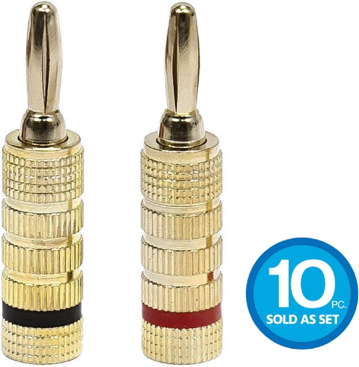 Monoprice 24k Gold Plated Speaker Banana Plugs, Closed Screw Type (10 Pairs)