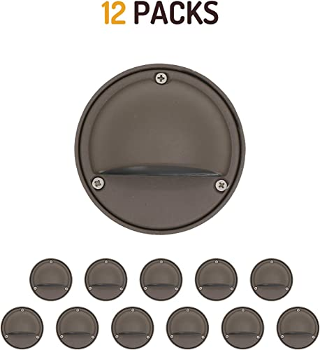 Lumina LED Low Voltage Landscape Lighting Cast-Aluminum Deck and Step Lights Warm White 2W G4 LED Bulb Included Garden Yard Decoration Lights for Stair Pathway Bronze Finish DSL0103-BZLED12 12PK