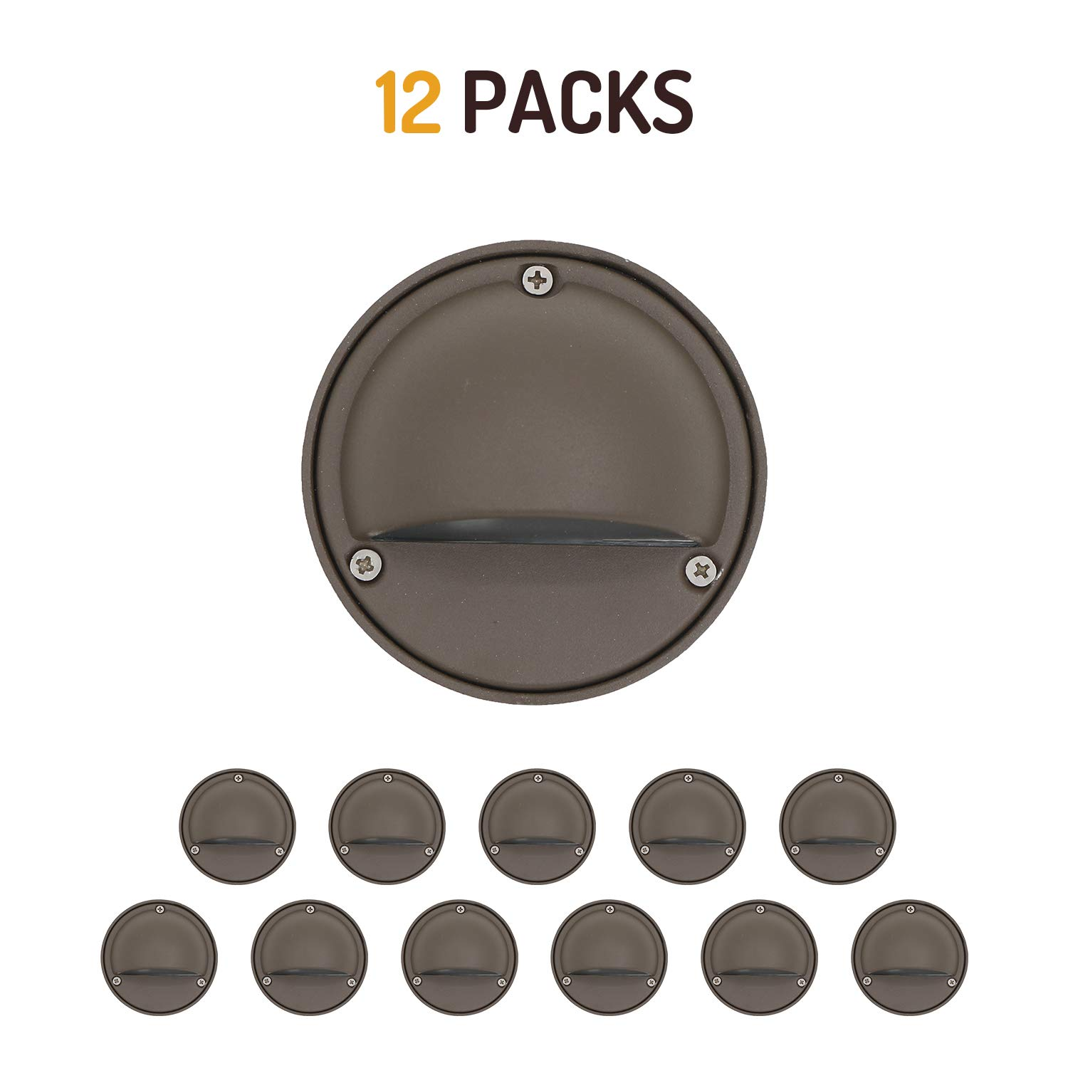 Lumina LED Low Voltage Landscape Lighting Cast-Aluminum Deck and Step Light Warm White 2W G4 LED Bulb Included Garden Yard Decoration Lights for Stair Pathway Bronze Finish DSL0101-BZLED12 (12PK)