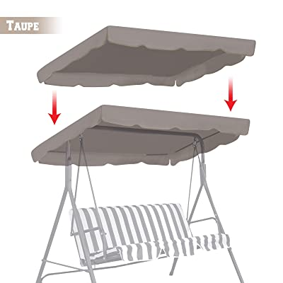 "BenefitUSA BenefitUSA Replacement Porch Top Cover for Patio Outdoor Swing Seat Furniture (65""x45"", Taupe) : Garden & Outdoor"