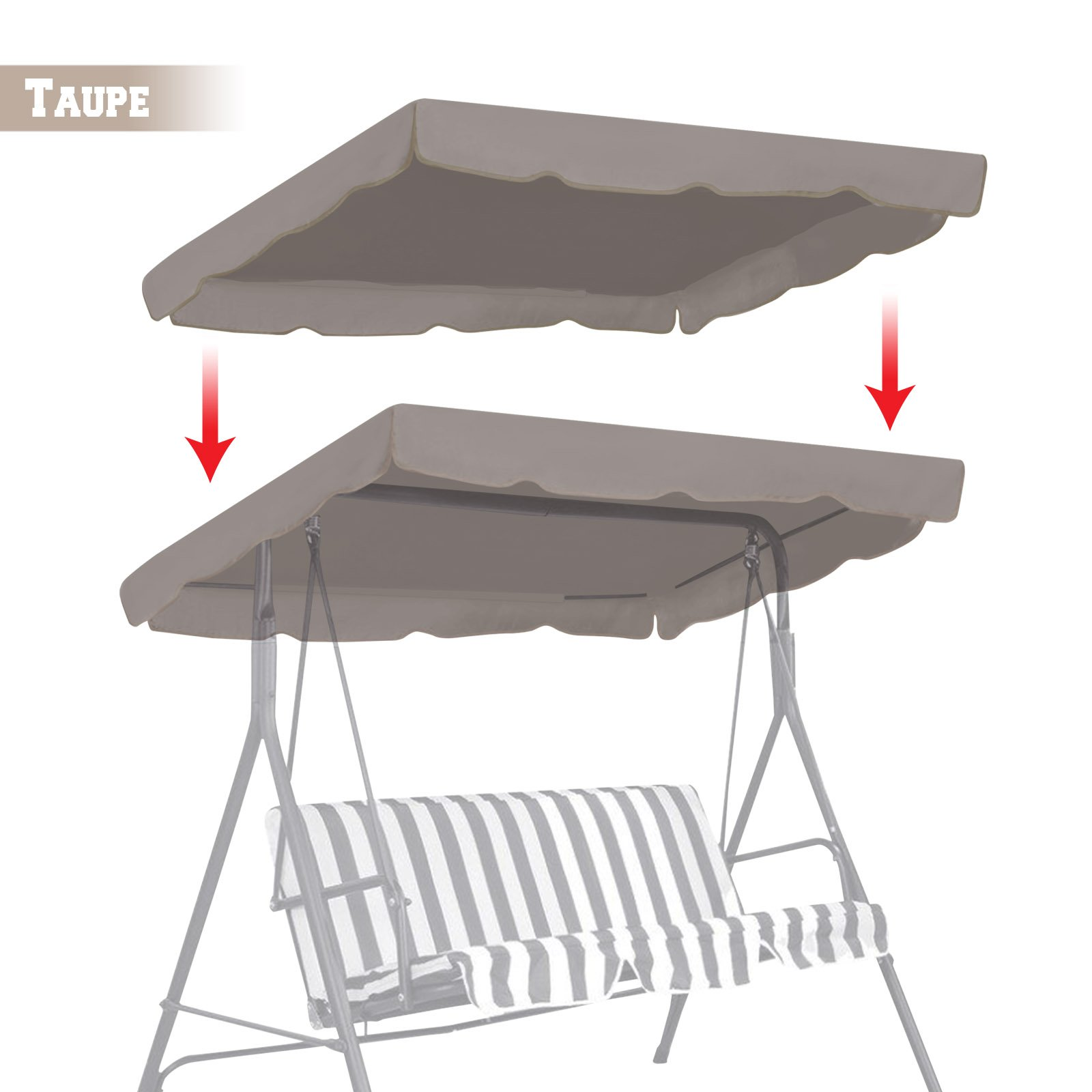 BenefitUSA Patio Outdoor 77''x43'' Swing Canopy Replacement Porch Top Cover Seat Furniture (Taupe) by BenefitUSA