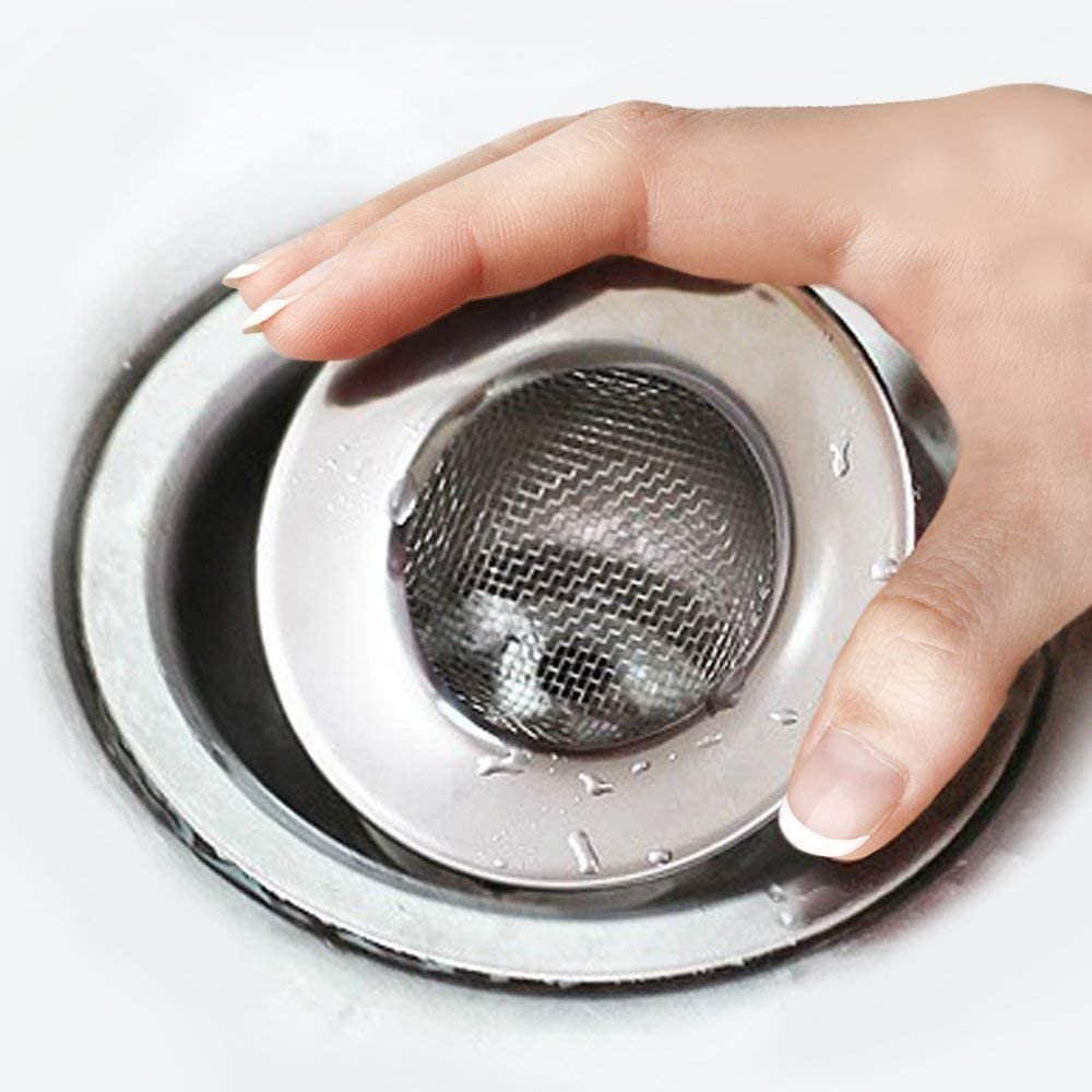 N // E Hair Collector For Shower Sink Strainer 3 Inch 7.6cm Outer Diameter Stainless Steel Mesh Sink Drain Filter Plug Hole Hair Catcher Fits Bath or Kitchen Sink Plugholes