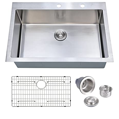 33 x 22 inch handcrafted topmount single bowl 16 gauge stainless steel kitchen sink with grid 33 x 22 inch handcrafted topmount single bowl 16 gauge stainless      rh   amazon com