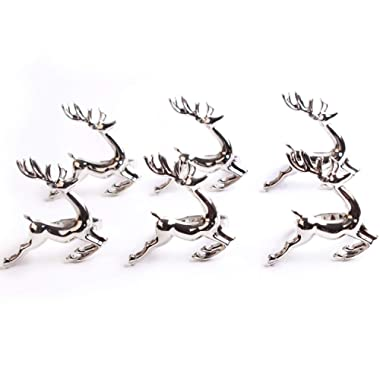 MINGLI Deer Napkin Rings - Set of 6 Napkin Rings for Christmas, Holidays, Thanksgiving (Sliver)