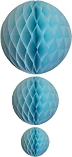 product image for Light Blue Honeycomb Balls, Set of 3 (12 inch, 8 inch, 5 inch)