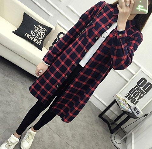 WHTLL-La versión coreana de suelta de algodón camisa de cuadros de manga larga talla chicas retro falda larga Rojo
