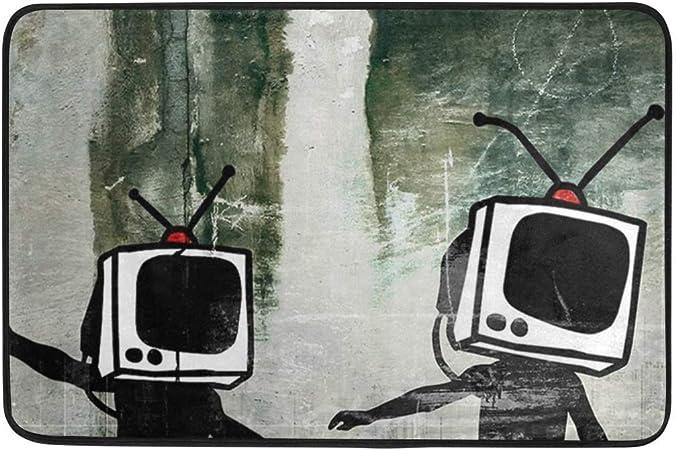 AdaCrazy Serie Dibujos Animados Tema Graffiti TV Fondo Patrón Cortina Ducha Impresión 3D Tejido poliéster Revestido Impermeable Baño con 12 Ganchos 71 Pulgadas Alfombras baño 60x40cm: Amazon.es: Hogar