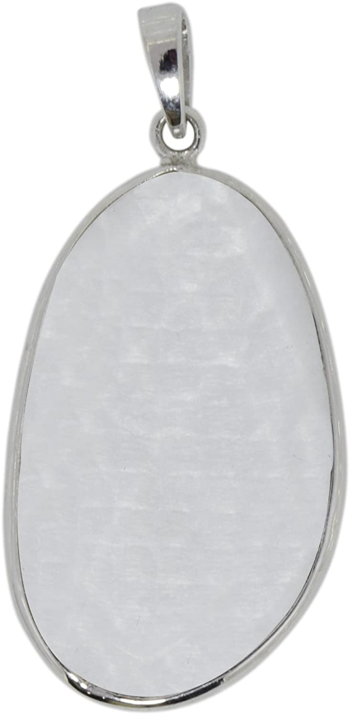 Shine Jewel Colgante de bisel de piedra lunar de plata de ley 925 sin forma para mujer Piedra de la luna