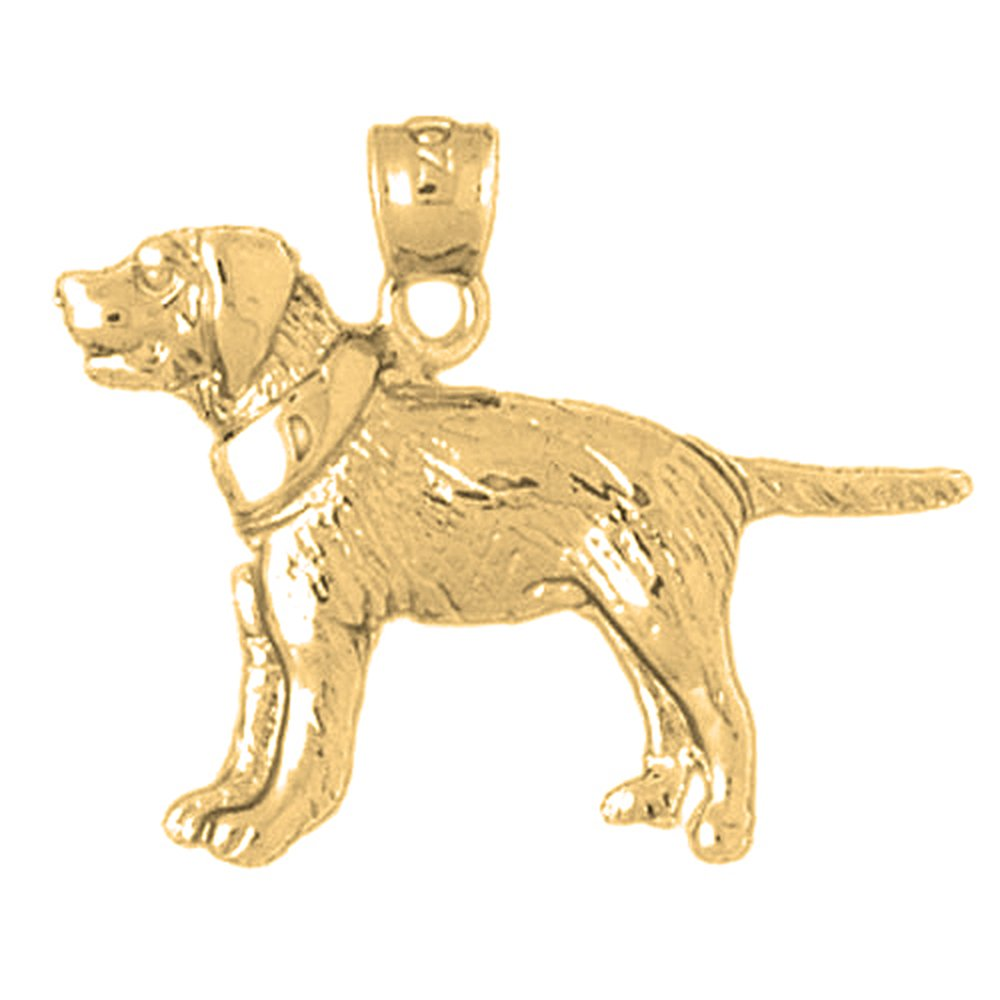 21mm Silver Yellow Plated Dog Pendant