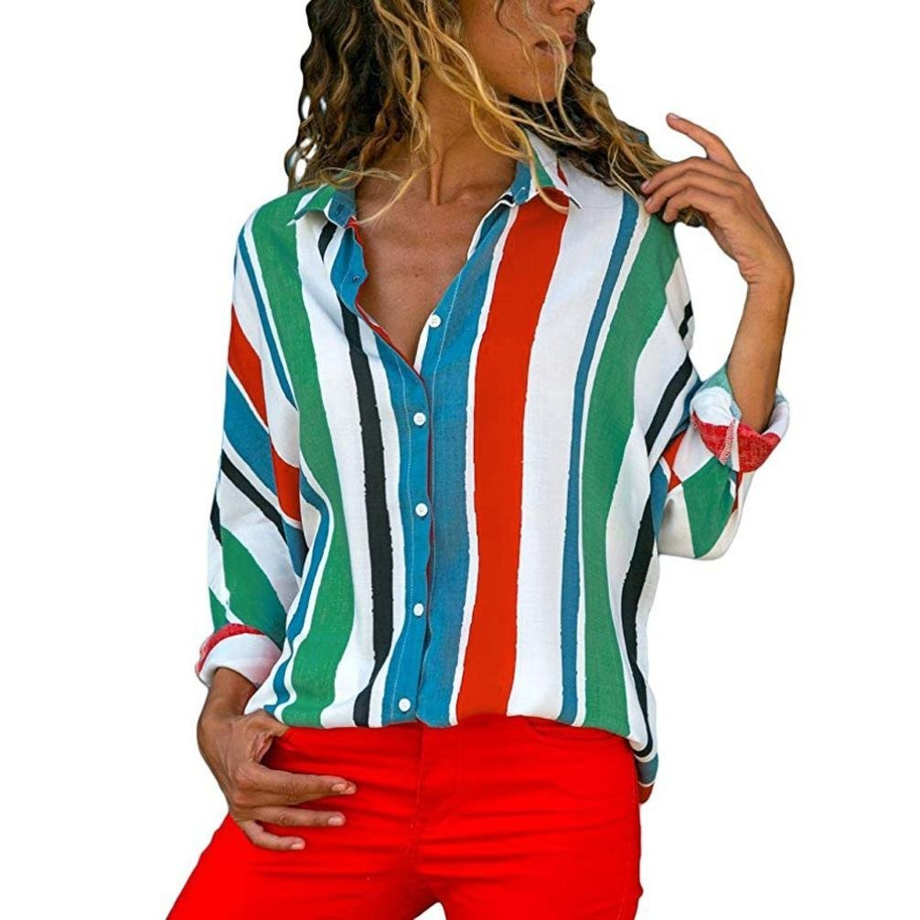 Bafaretk Womens Casual Long Sleeve T Shirts Colorful Stripe Blouse Button Down Tops (S, Multicolor)