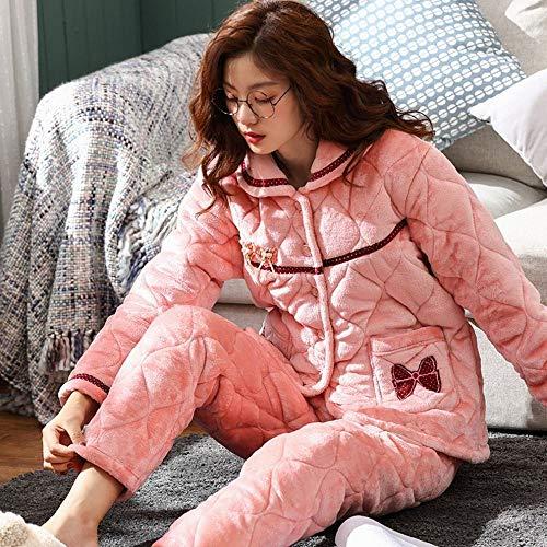 Mujer Servicio Manga Acolchada Para Rosado Gruesa Invierno Otoño Franela De Cn Larga Pijamas Hogar E Mujer Con Invierno Chaqueta Conjunto wqOnxAv7Z